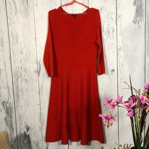 Talbots Burnt Orange Long Sleeve Sweater Dress Lg